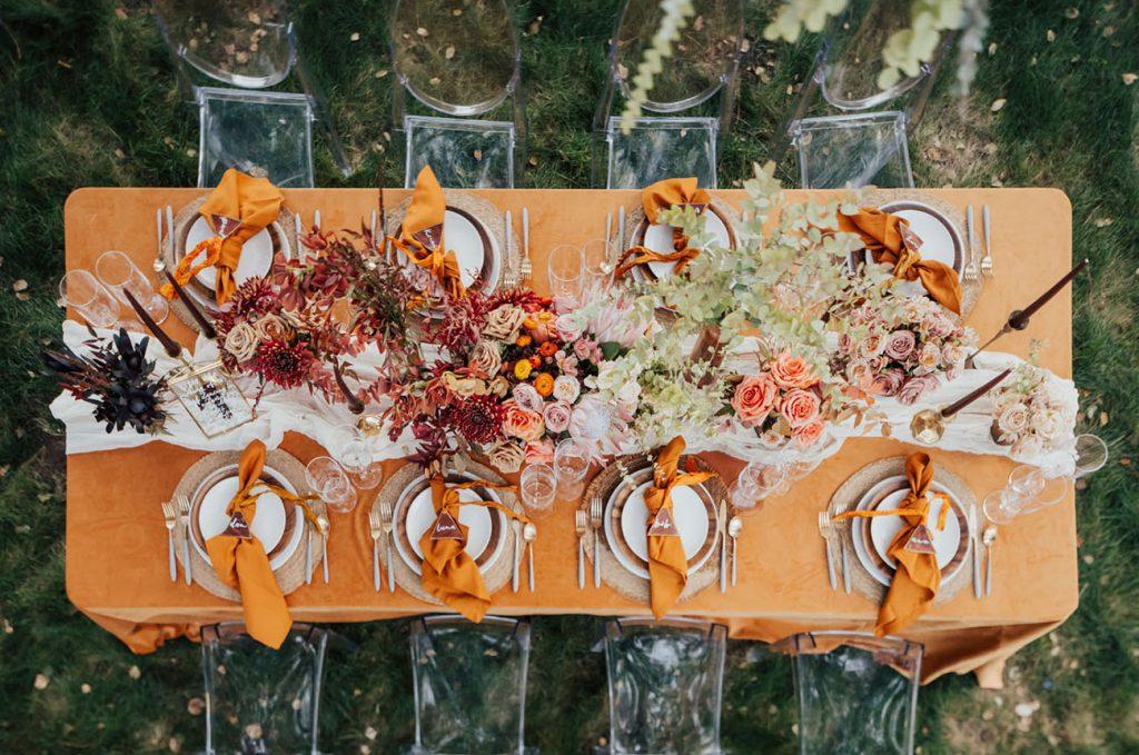 Decoração para mesa dos convidados do casamento